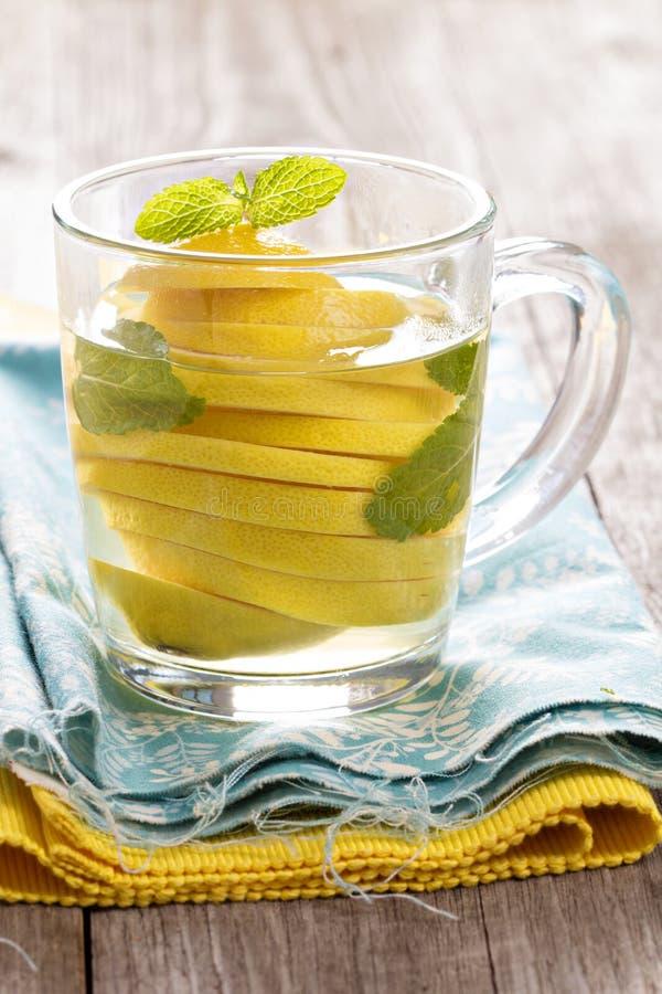 Te med mintkaramellen och den hela citronen i en genomskinlig kopp fotografering för bildbyråer