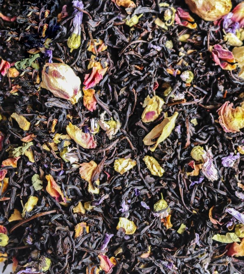 Te med torkade blommor waves för blå flamma för abstraktionbakgrund royaltyfri bild