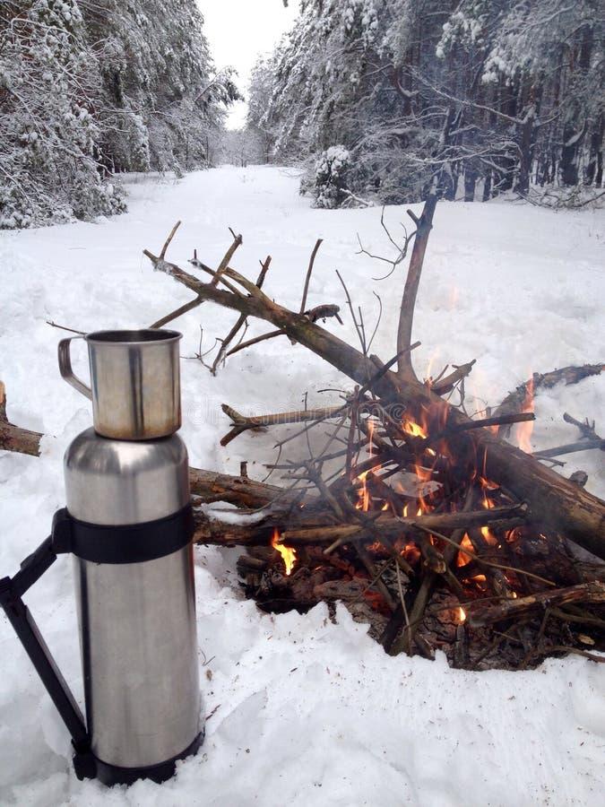 Te och brand arkivfoton