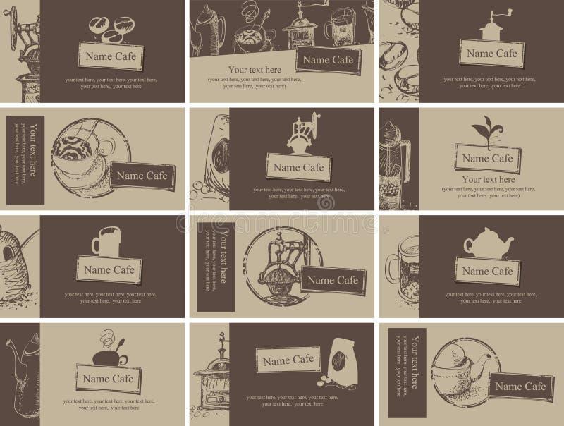 Te och kaffe royaltyfri illustrationer