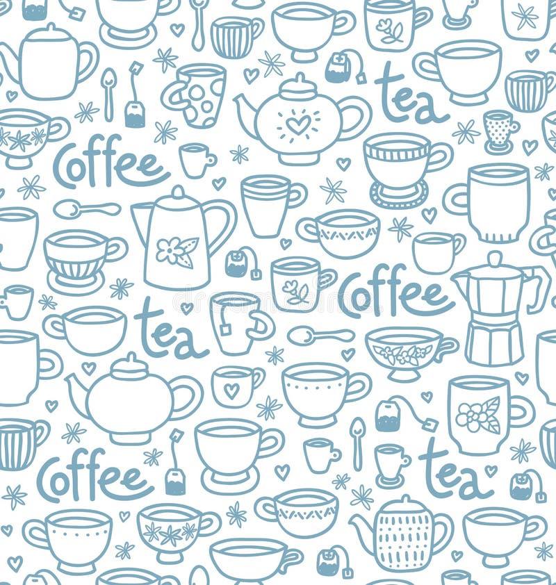 Te- och kaffemodell vektor illustrationer