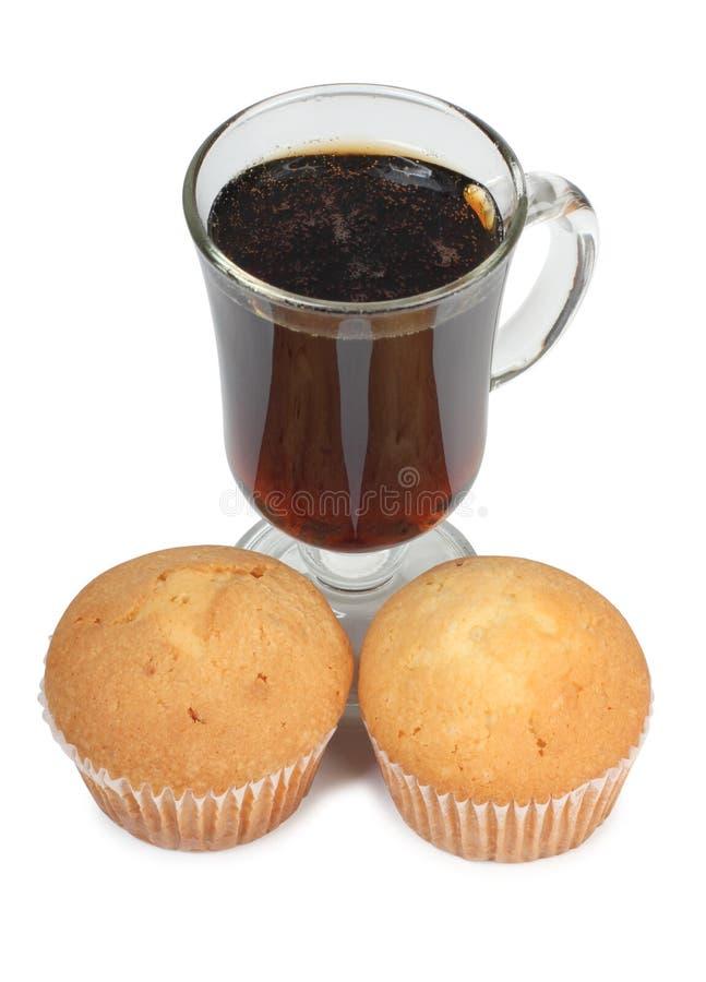 Te och söt kaka arkivfoton