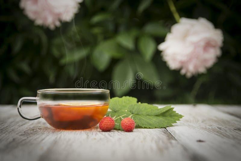 Te på en sjaskig trätabell royaltyfri bild
