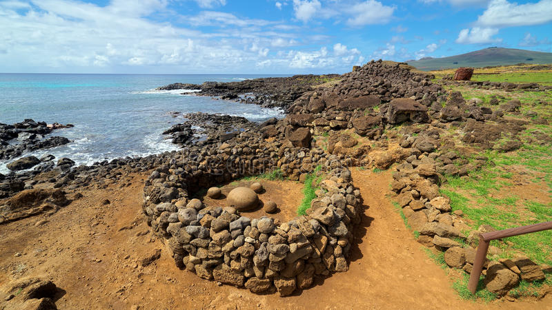 Te Pito o Te Henua, пупок мира, острова пасхи, Чили стоковое фото