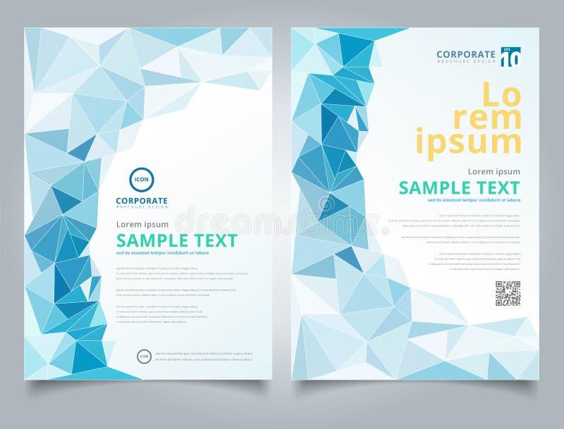Te poligonal azul claro del diseño de la disposición del fondo del mosaico del folleto stock de ilustración