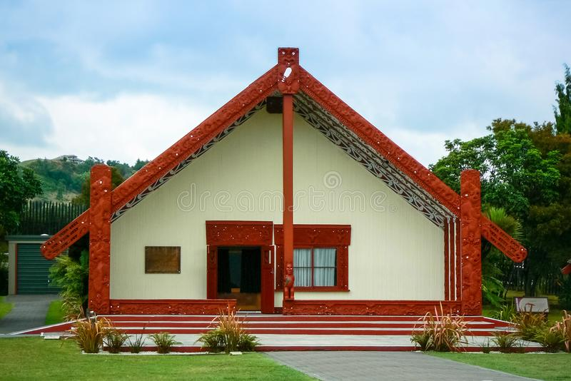 Maori culture explained in the Te Puia arts and crafts institute and geothermal park, Rotorua, New Zealand. Te Puia Maori arts and crafts institute and stock photo