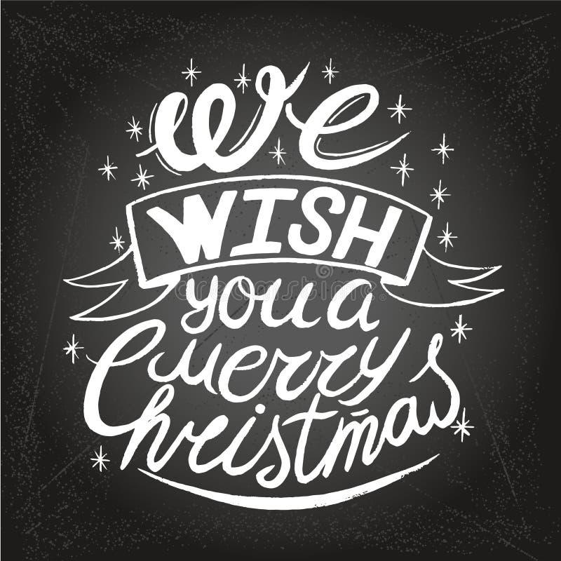 Te souhaitant Joyeux un fond typographique de Noël et de bonne année sur le tableau illustration de vecteur