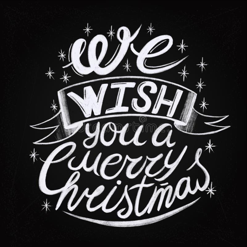 Te souhaitant Joyeux un fond typographique de Noël et de bonne année sur le tableau illustration stock