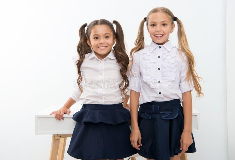 Te volgen voorbeeld Schoolmeisjes met het leuke kapsel van poneystaarten Beste vrienden uitstekende leerlingen Perfecte schoolmei royalty-vrije stock foto
