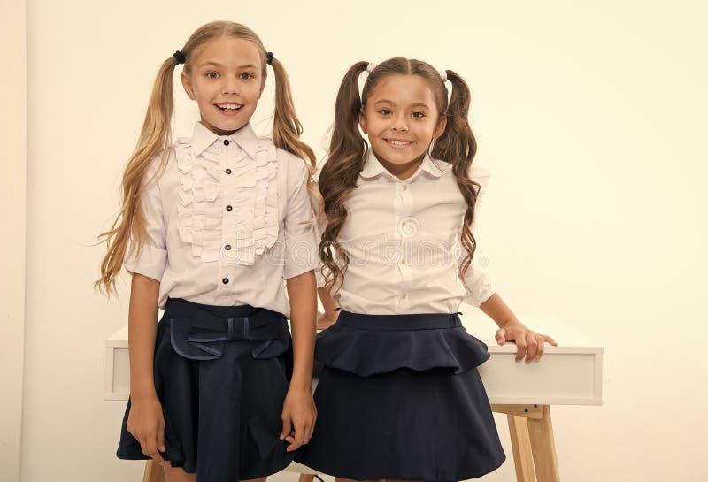 Te volgen voorbeeld Schoolmeisjes met het leuke kapsel van poneystaarten Beste vrienden uitstekende leerlingen Perfecte schoolmei royalty-vrije stock fotografie