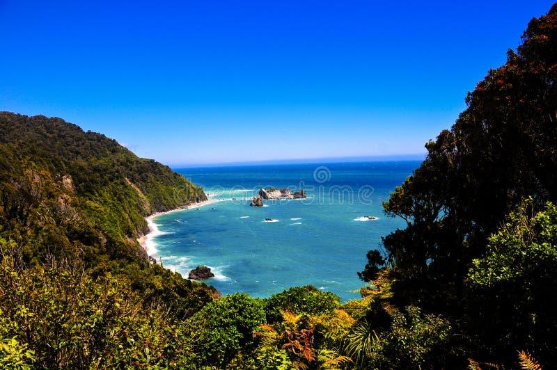 Te Wahipounamu Overlook on the Tasman Sea. The blue tasman sea from the overlook at Te Wahipounamu royalty free stock photos