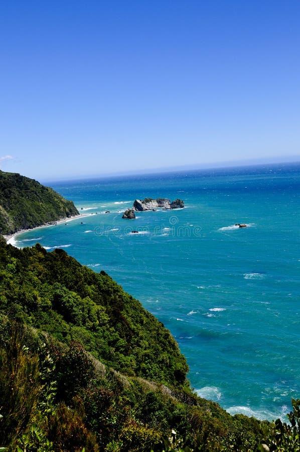 Te Wahipounamu Tasman Sea. View from the Te Wahipounamu lookout on the tasman sea, new zealand stock image