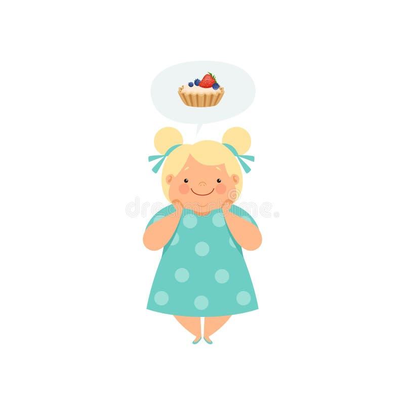 Te zwaar blondemeisje die van cupcake, leuke mollige het karakter vectorillustratie van het kindbeeldverhaal op een wit dromen royalty-vrije illustratie