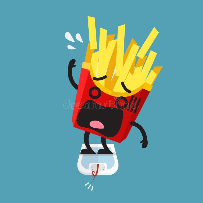 Te zwaar frietenkarakter op gewichtsschaal royalty-vrije illustratie