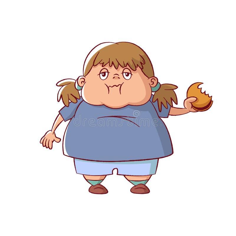 Te zwaar meisje stock illustratie