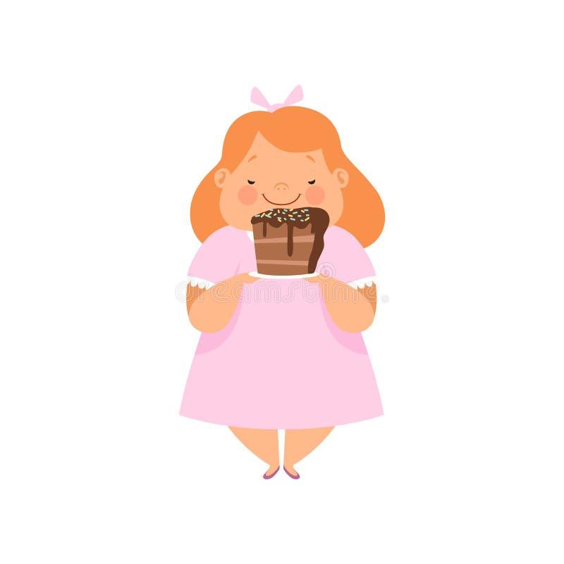 Te zwaar meisje met een stuk van chocoladecake, leuke mollige het karakter vectorillustratie van het kindbeeldverhaal op een wit stock illustratie