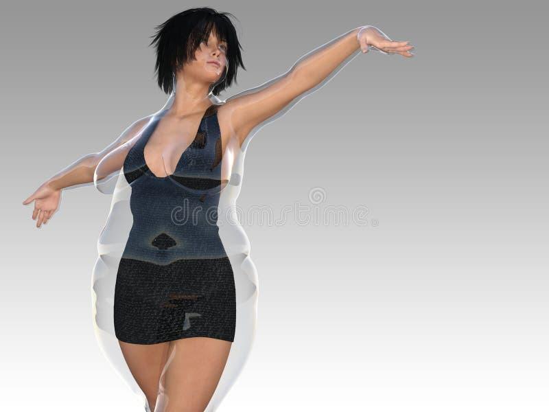 Te zwaar zwaarlijvig wijfje versus slank geschikt gezond lichaam royalty-vrije illustratie