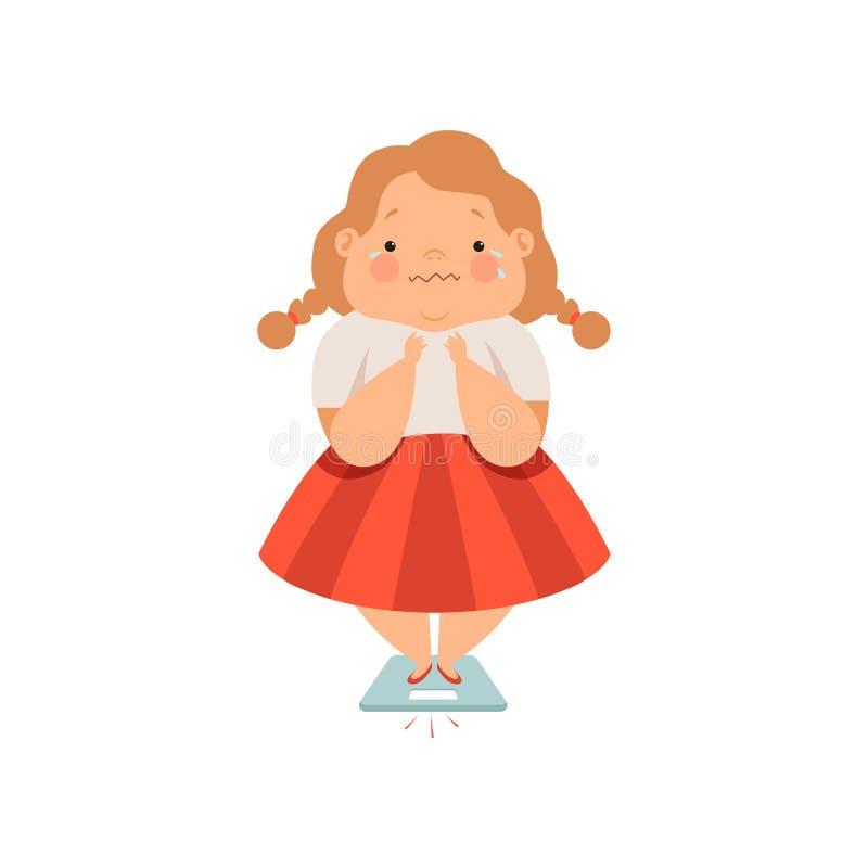 Te zwaar zwetend meisje, leuke mollige het karakter vectorillustratie van het kindbeeldverhaal op een witte achtergrond royalty-vrije illustratie