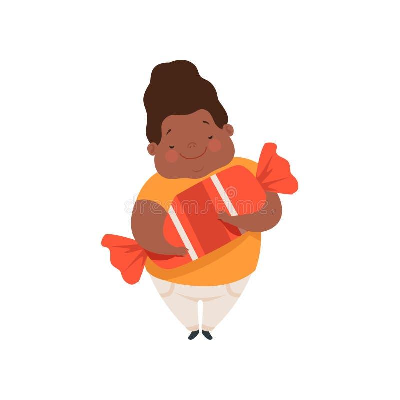 Te zware Afrikaanse Amerikaanse jongen met een reusachtig suikergoed, leuke mollige het karakter vectorillustratie van het kindbe vector illustratie