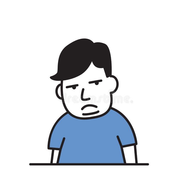Te zware droevige jongen zwaarlijvigheid Het pictogram van het beeldverhaalontwerp Vlakke vectorillustratie Geïsoleerdj op witte  stock illustratie