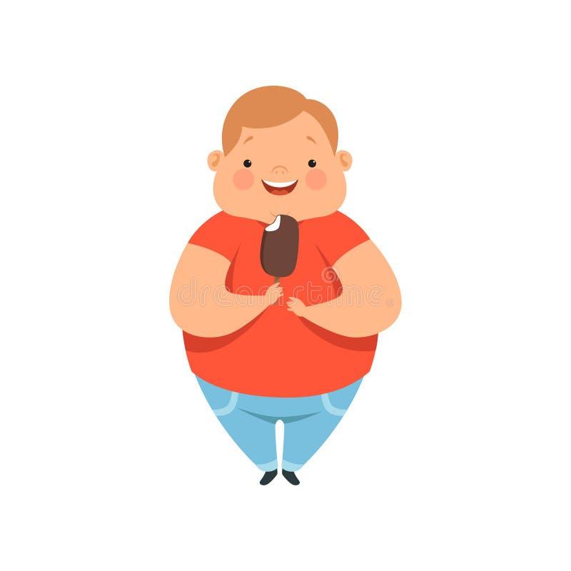Te zware jongen die roomijs, leuke mollige het karakter vectorillustratie van het kindbeeldverhaal op een witte achtergrond eten stock illustratie