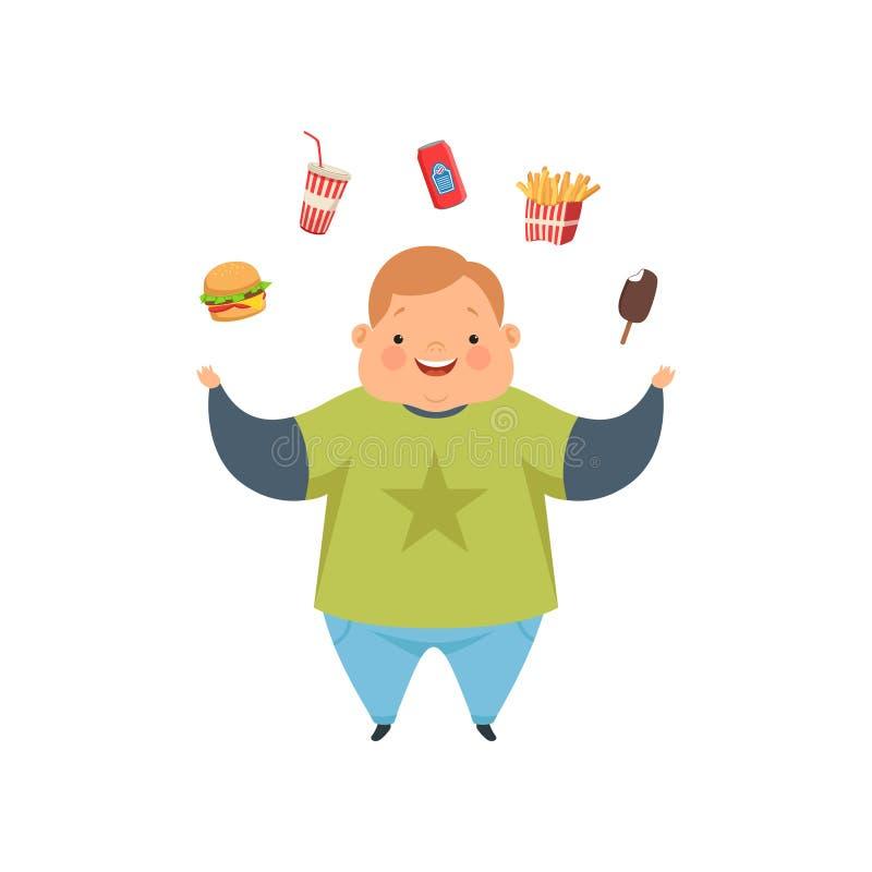 Te zware jongen die snel voedsel met schotels, leuke mollige het karakter vectorillustratie van het kindbeeldverhaal op een witte stock illustratie