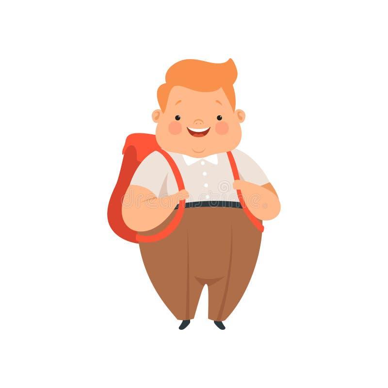 Te zware jongen die zich met rugzak, leuke mollige het karakter vectorillustratie van het kindbeeldverhaal op een witte achtergro royalty-vrije illustratie