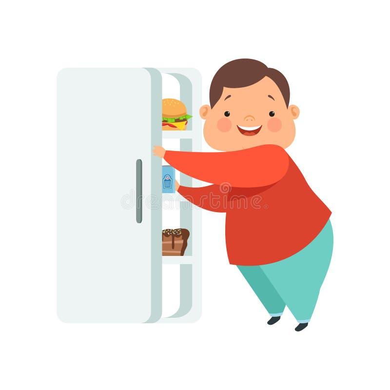 Te zware jongen het openen koelkast met ongezonde kost, leuke mollige het karakter vectorillustratie van het kindbeeldverhaal op  stock illustratie