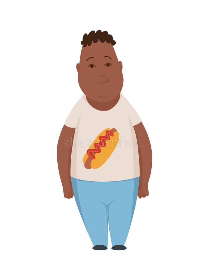 Te zware jongen, leuke mollige het karakter vectorillustratie van het kindbeeldverhaal op een witte achtergrond royalty-vrije illustratie