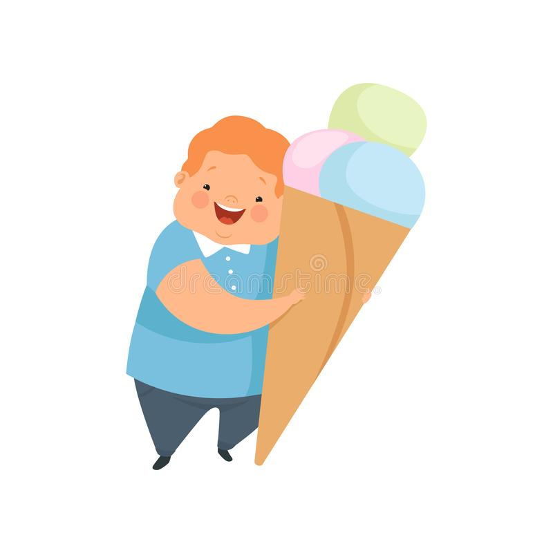Te zware jongen met een reusachtig roomijs, leuke mollige het karakter vectorillustratie van het kindbeeldverhaal op een witte ac stock illustratie