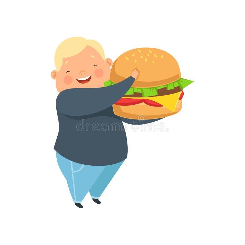 Te zware jongen met een reusachtige hamburger, leuke mollige het karakter vectorillustratie van het kindbeeldverhaal op een witte vector illustratie
