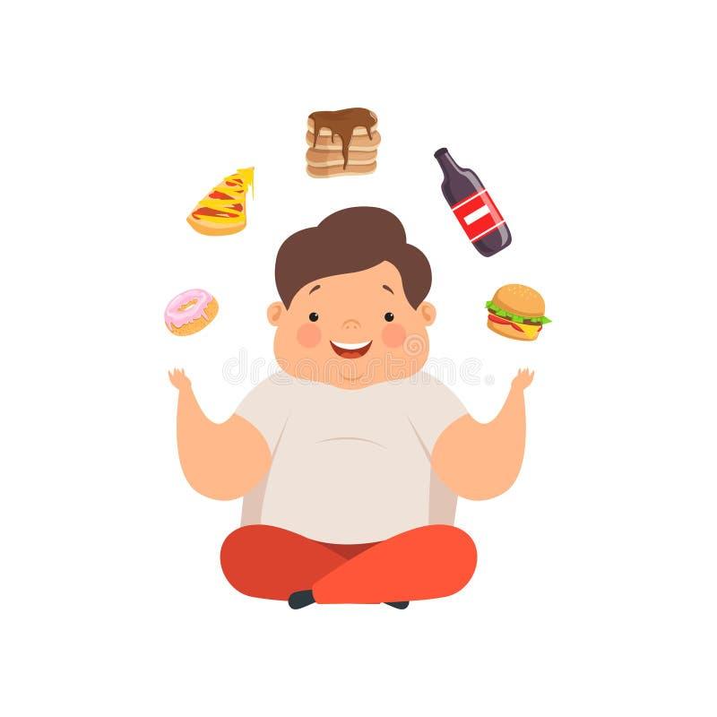 Te zware jongenszitting op de vloer en het jongleren met snel voedselschotels, leuke mollige het karaktervector van het kindbeeld vector illustratie