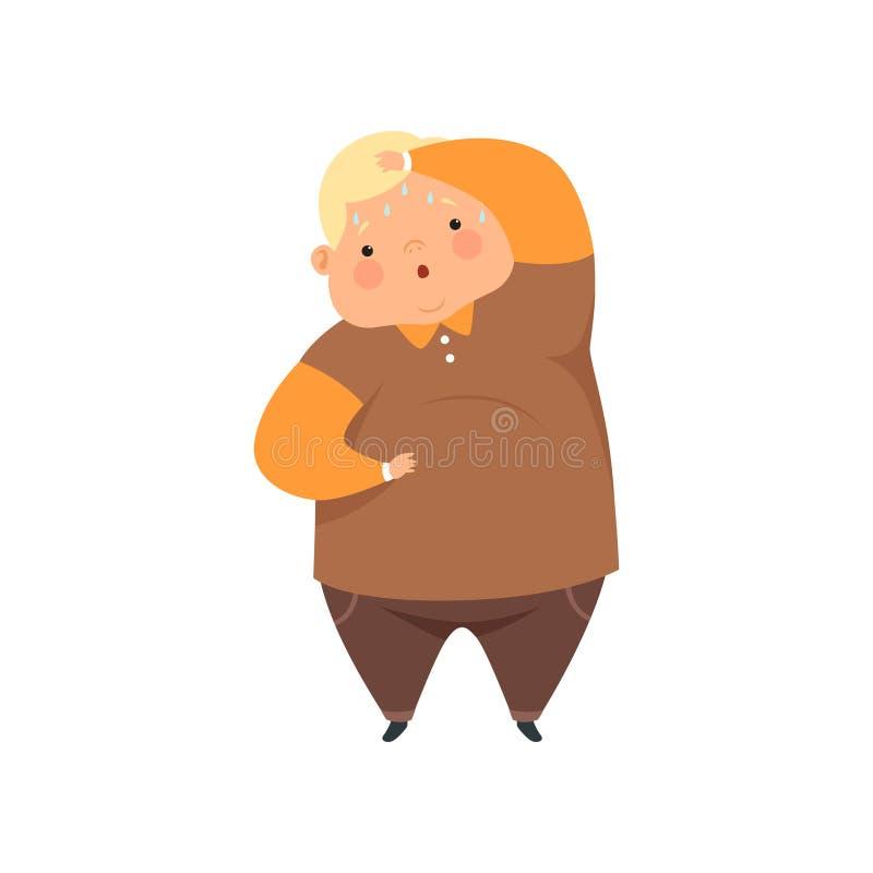 Te zware zwetende jongen, leuke mollige het karakter vectorillustratie van het kindbeeldverhaal op een witte achtergrond vector illustratie