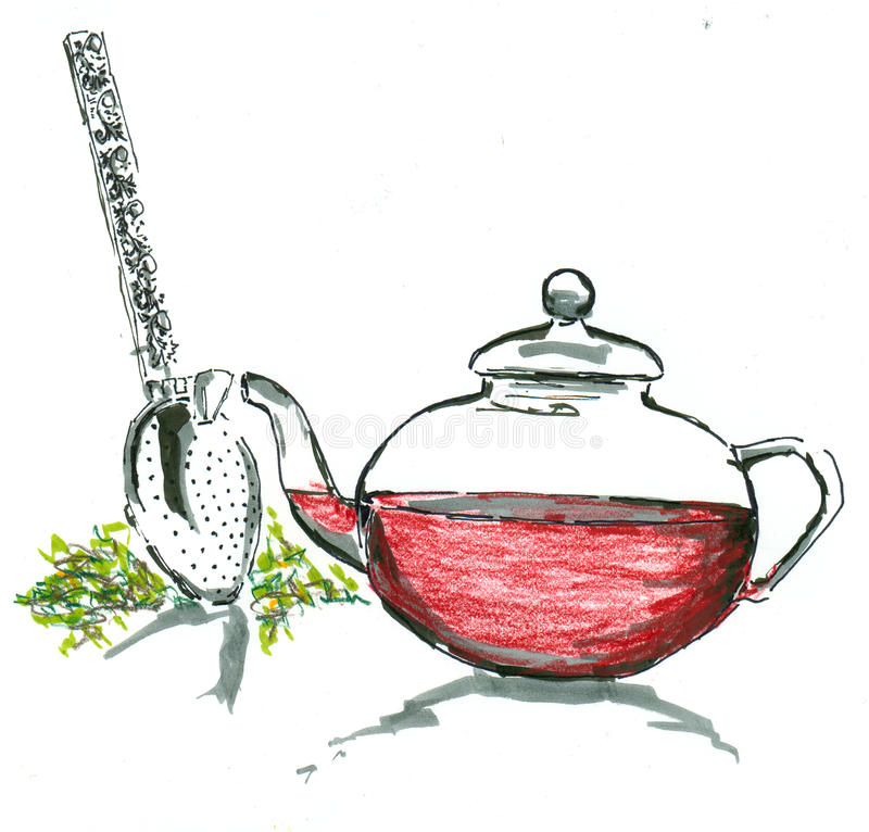 tea stock illustrationer