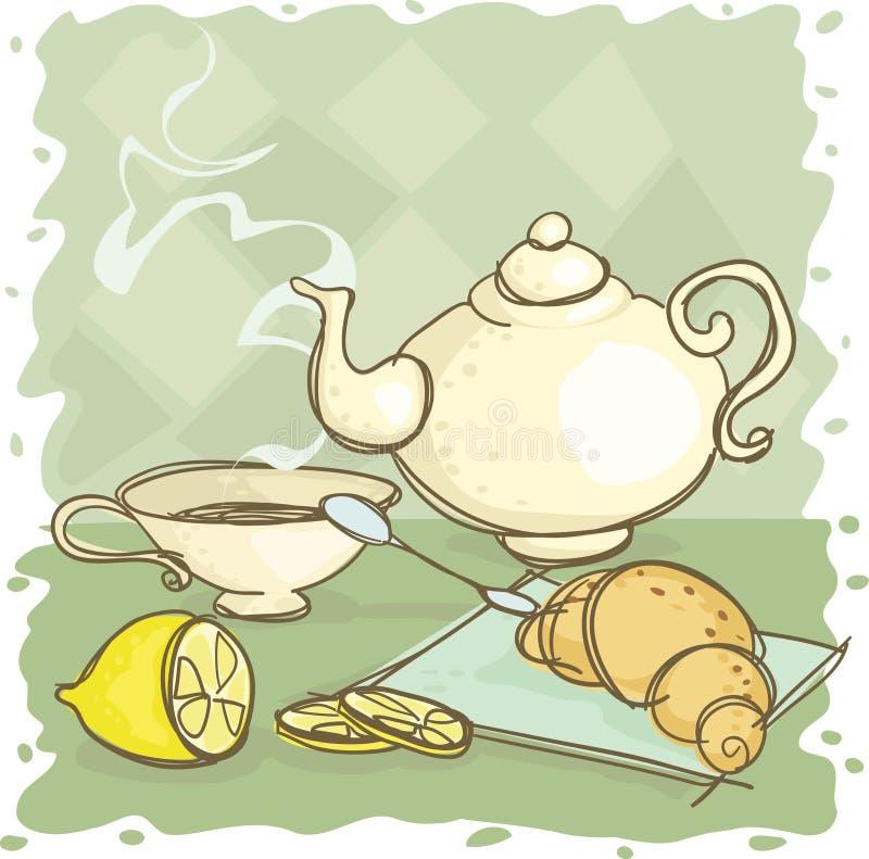 Download Tea stock vector. Illustration of spoon, steam, teapot - 5847960