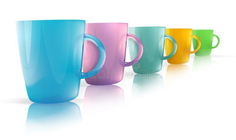 Colorful glass mug illustrations royalty free illustration