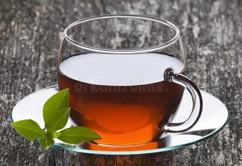 Glass cup of fruit tea stock images