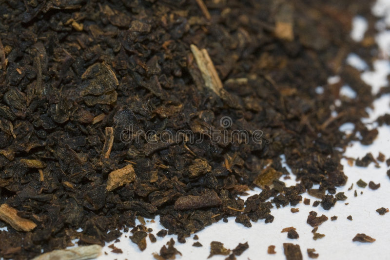Tea. Leaves, dried and ready to make a cup of stock photo