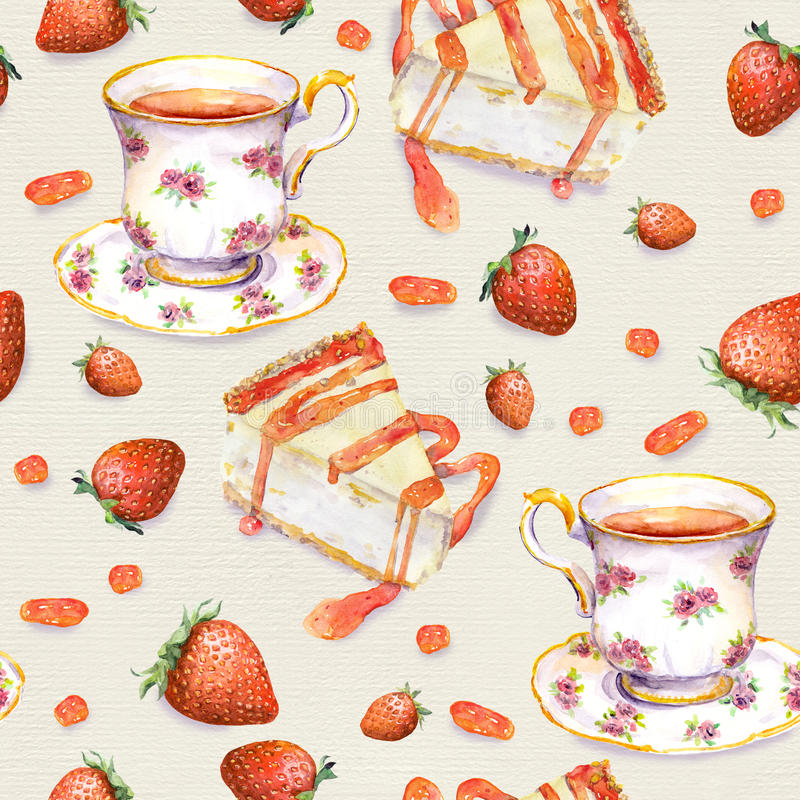 Tea background - cake, teacup, strawberry. Seamless pattern. Watercolor royalty free illustration