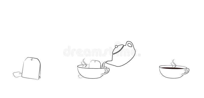 Tea bag brewed in a cup. vector illustration.  vector illustration