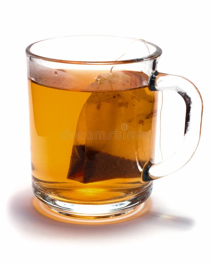 Tea bag in the cup stock images