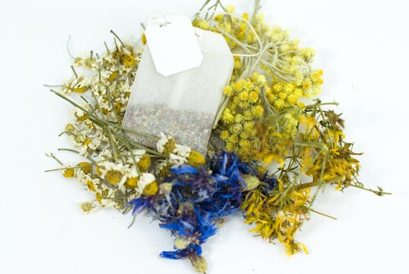 Tea bag of medicinal plants royalty free stock images