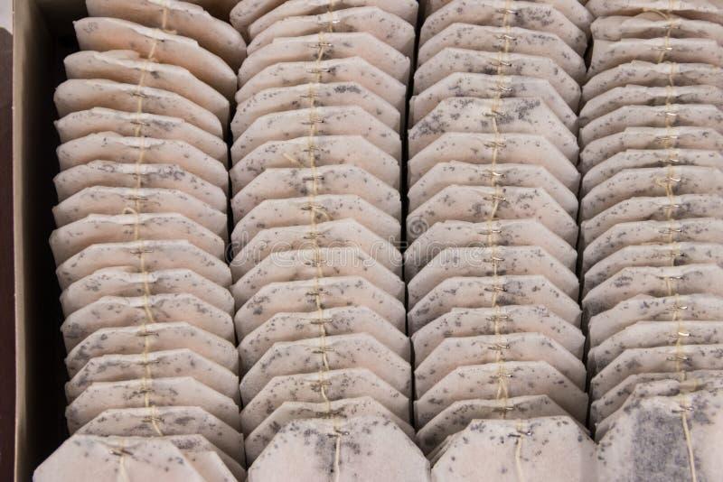 Tea bags arrange in box close-up stock image