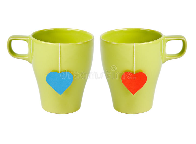 Tea bags with heart-shaped lables royalty free stock image