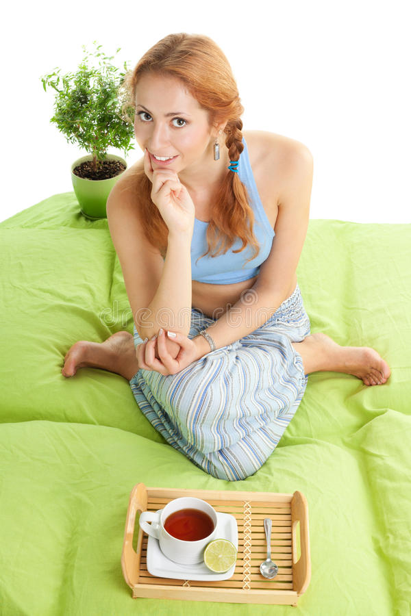 Download Tea in bed stock photo. Image of meditation, slim, house - 16701250