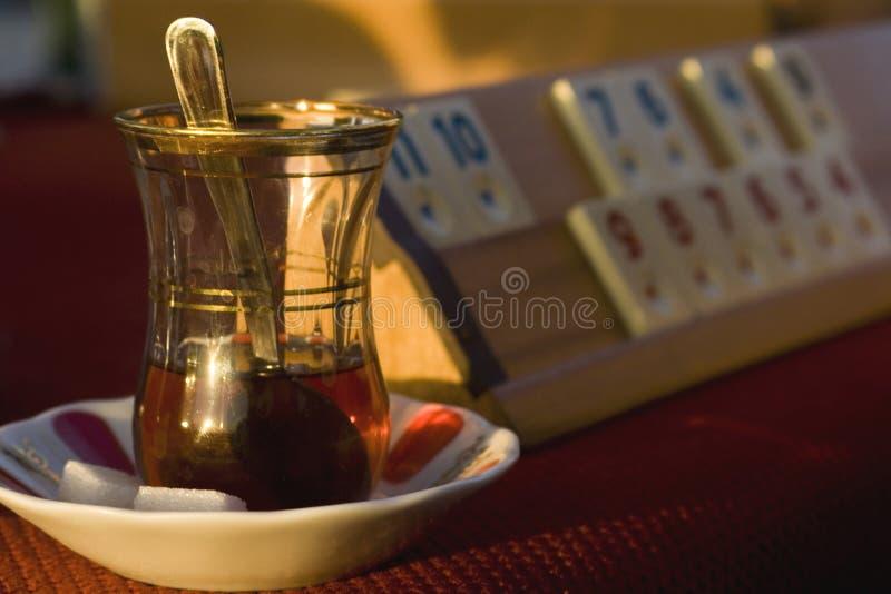 Tea and board game stock photos