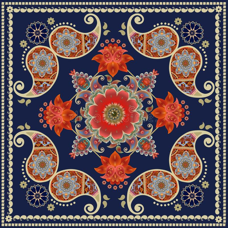 Tea box packaging design. Unique square carpet in indian style with red flowers and paisley pattern. Bandana print royalty free illustration