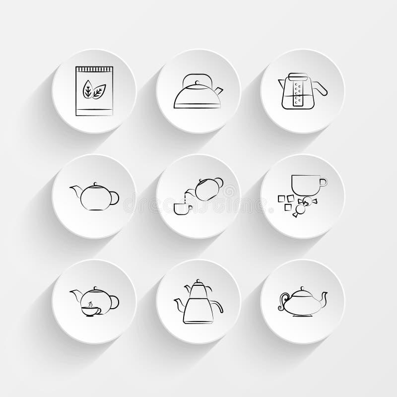 Tea box, Tea pot hand drawn, Tea pot hand drawn and Tea pot hand drawn icons on plate illustration set. Vector stock illustration