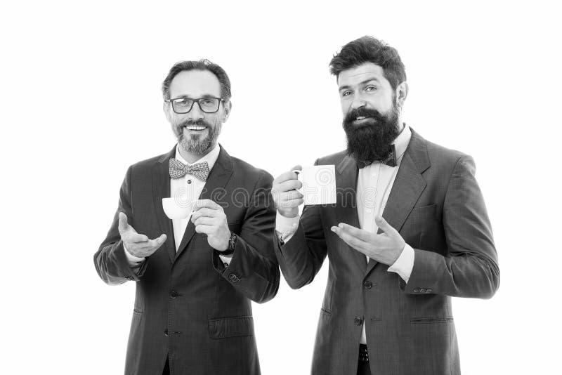 Tea break. Men successful entrepreneurs on white background. Join our business team. Business people concept. Men stock photo