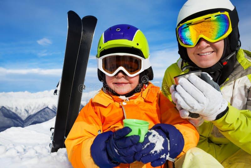 Tea break during skiing on the mountain stock photos